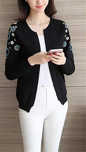 Cappotto Donna Cardigan Floreale Elegante Collo Libero Monocromo Di di Autunno A Maglia Mode Manica Maglia Moda marca Moda A Lunga Tempo Rotondo Maglioni Giacca Ricamo Confortevole YqfHEwf