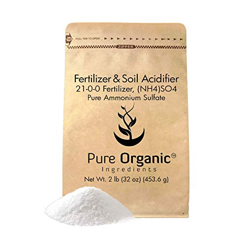 Fertilizers Organic Soil (Ammonium Sulfate (2 lb.) by Pure Organic Ingredients, Eco-Friendly Packaging, Fertilizer & Soil Acidifier, Highest Quality, NO Iron OR Aluminum (Also in 8 oz, 1 lb, 5 lb, 25 lb))