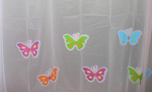MALo Cute Cartoon Butterflies Waterproof Shower Curtain Belt Hang180*180 CM PEVA