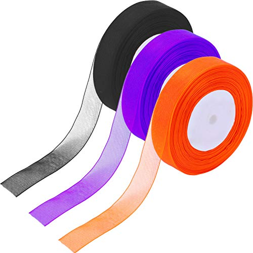 Patelai 3 Rolls 150 Yards Length 22 mm Width Sheer Organza Ribbons Chiffon Ribbon for Halloween Decoration DIY Project