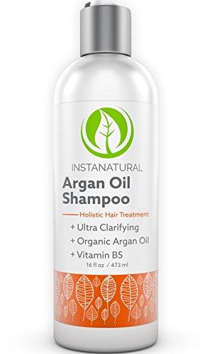 InstaNatural Arganöl Shampoo ohne Silikon, Sulfat-frei Shampoo gegen Schuppen, juckende & trockene Kopfhaut, 100% zertifiziertes organic Arganöl aus Marokko mit Vitamin B5 für sanftes, seidiges Haar