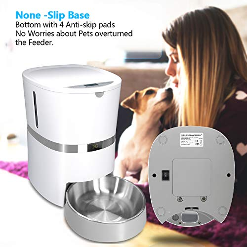 HoneyGuaridan Automatic Pet Feeder, Dogs, Cats, Rabbit & Small Animals Food Dispenser with Stainless Steel Pet Food Bowl, Portion Control and Voice Recording - Batteries and Power Adapter Support