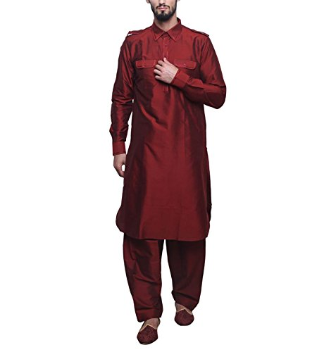 Royal Kurta Men's Silk Blend Festive Pathani Suit 42 Red