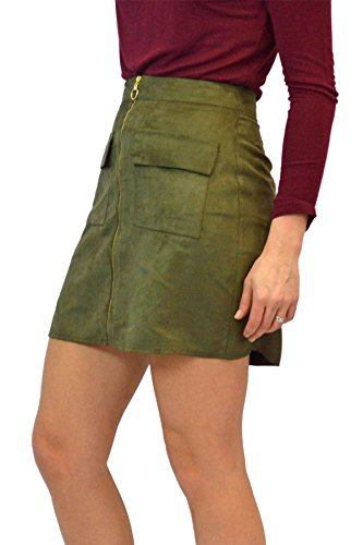 Atmosphere Khaki Faux Suede Zip Front Skirt Size (Gabardine Stretch Skirt)