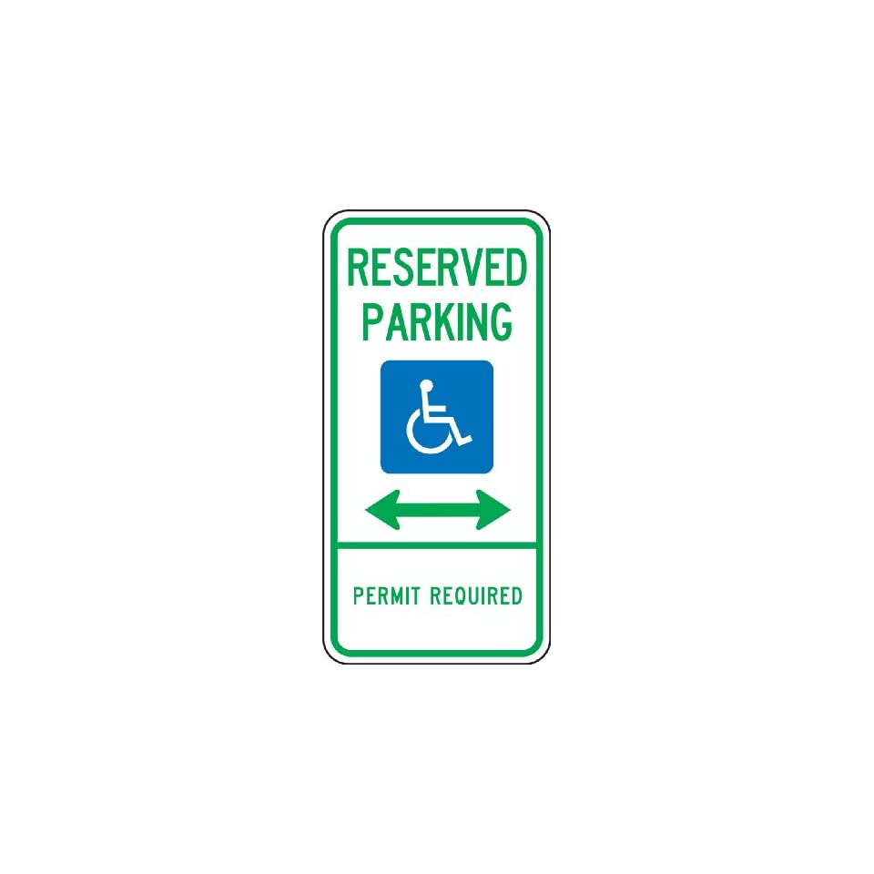 (DELAWARE) RESERVED PARKING PERMIT REQUIRED (W/GRPAHIC) (DOUBLE ARROW) Sign 24 x 12 .080 Reflective Aluminum   ADA Parking Signs