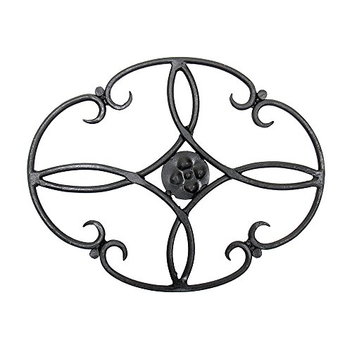 Minuteman International Clover woodstove Tabletop Wrought Iron Trivet, Black