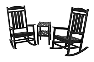 Recycled Earth-Friendly 3-Piece Patio Outdoor Rocker and Table Set - Black