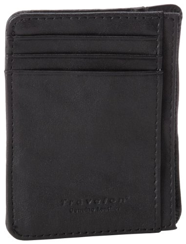 Travelon Rfid Blocking Leather Cash And Card Sleeve, Black, Small