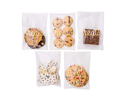 Sweet Details Party Co. Cellophane 'Treats' Bags {100 Pack} Gold & Clear Favors Goodie Bags- Treat & Cookie Bags for Wedding/Birthday Dessert Table & Candy Buffet- Self-Sealing & Resealable Adhesive!]()