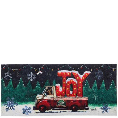Evergreen Tree Lot Plaid Joy Decorative Mat Insert, 10 x 22 inches by Evergreen Enterprises (Xmas Mats Door)