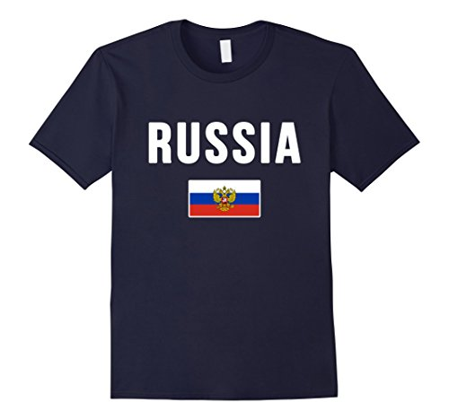 Mens Russia T-shirt Russian Flag Large Navy Russia Flag T-shirt
