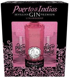 Pack Gin Strawberry Puerto de Indias Botella 700 ml. + 2 Vasos