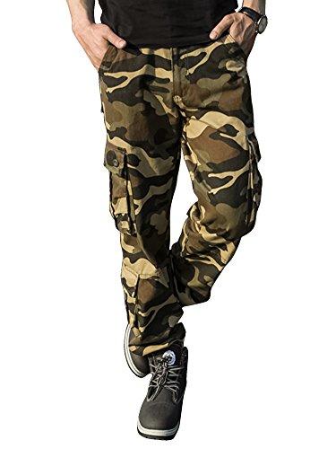 Coton Poches 1 Cargo En Camouflage Pantalon Homme Taipove Multi xYSIaI