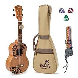 Hola! Music HM-121TT+ Laser Engraved Mahogany Soprano Ukulele Bundle with Aquila Strings, Padded Gig Bag, Strap and…