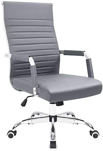 KaiMeng Ribbed Office Chair Mid Back Desk Chair Adjustable Conference Chair Swivel Task Chair Executive Chair Grey