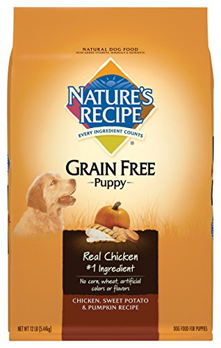 Nature's Recipe Grain Free Puppy Food, Chicken, Sweet Potato & Pumpkin Recipe Dry Dog Food, 12-Pound