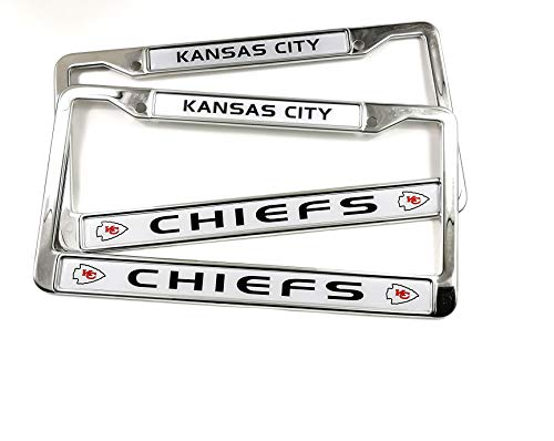MT-Sports Store Football Team 2 Pcs 4 Holes Car Licenses Plate Frames Stainless Steel (Kansas City Chiefs)