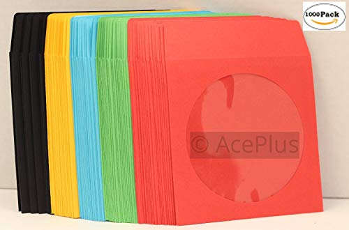 AcePlus 1000 Pack of 100g Multi-Color CD/DVD Paper Sleeves with Clear Window and Flap ( Red, Green, Sky Blue, Yellow, Black)