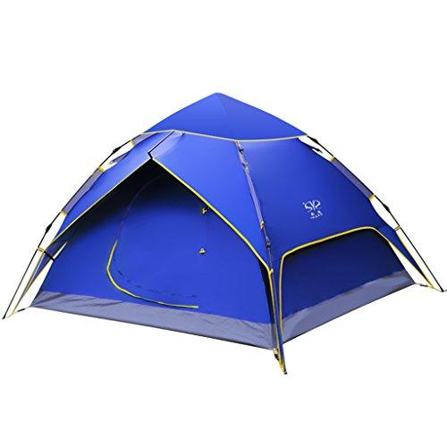 農学ヘルメット蓄積するシュウクラブ@ テント屋外ダブルレイヤーキャンプ防水3-4人キャンプ自動テント210 * 215 * 135センチメートル (色 : 緑)