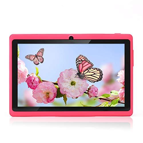 Haehne 7″ Tablet PC, Google Android 4.4 Quad Core, 512MB RAM 8GB ROM, Cámaras Duales, WiFi, Bluetooth, para Niños y Adultos, Rosado