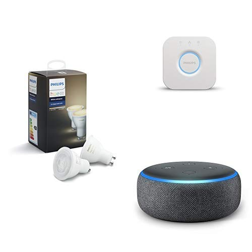 Echo Dot gris antracita + Philips Hue White Ambiance - Pack de 2 bombillas LED GU10