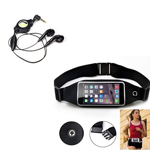 Black Sport Workout Belt Waist Bag Case w Retractable Headset Hands-Free w Mic O1Q Compatible with Huawei SnapTo, Pronto, Raven, P9 P10 P30, Mate SE S, P8 Lite, Ascend P8 P7, Vision 3 LTE