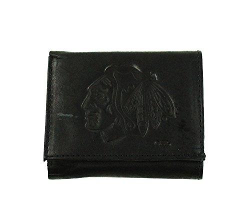 NHL Chicago Blackhawks Tri-Fold Leather Wallet, Black