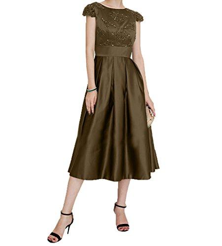 Brautmutterkleider Kurzarm Kleider Jugendweihe Kurzes Damen Braun Abendkleider mit Satin Charmant Wadenlang Festlichkleider RxqHwpXw