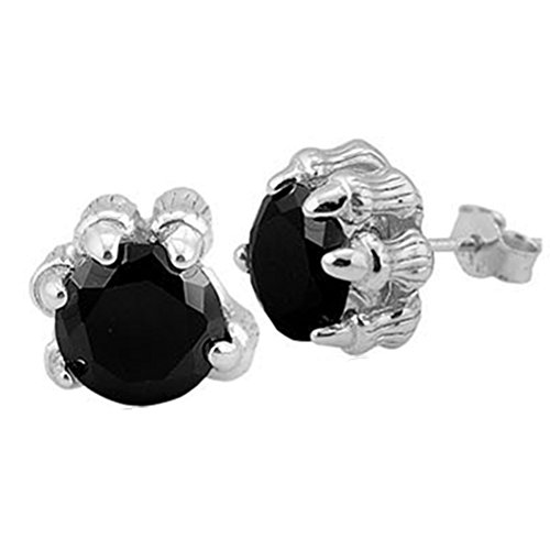 - Unisex Sterling Silver Plated Black Onyx Agate Dragon claw Stud Earrings,10MM