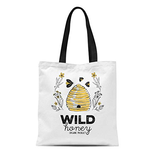 Semtomn Cotton Canvas Tote Bag Vintage Honey Label for Organic Products Hive Food Natural Reusable Shoulder Grocery Shopping Bags Handbag Printed