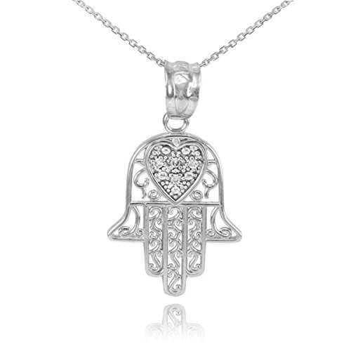 Middle Eastern Jewelry Fine 925 Sterling Silver CZ-Accented Heart Filigree-Style Hamsa Pendant Necklace, 20""