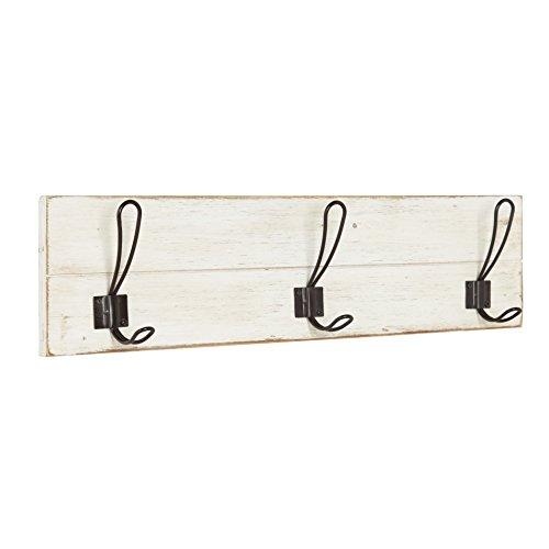 Kate and Laurel Jeran Wood Shiplap Wall Mounted Coat Rack with 3 Metal Hooks, Distressed White (Shiplap Hanging)