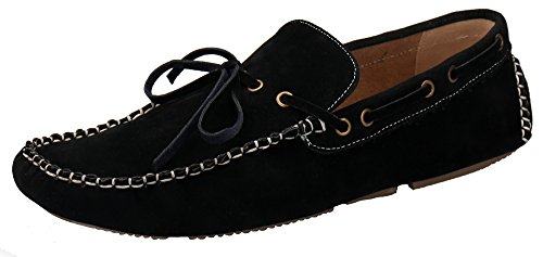 Shenbo Mens Svarta Spets Up Design Loafers Svart