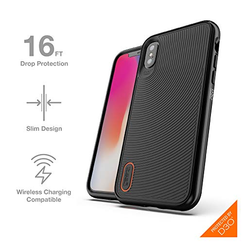 Gear4 Battersea Hardback Case with Advanced Impact Protection [ Protected by D3O ], Glass Back Protection, Slim, Tough Design for iPhone X/XS - Black
