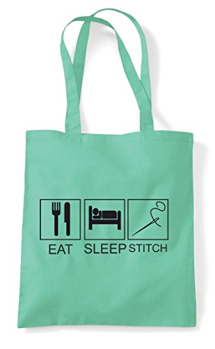 Tiles Shopper Bag Stitch Eat Funny Sleep Hobby Activity Mint Tote FvSEwf