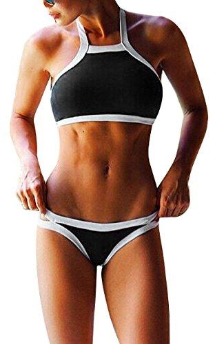 Simplicity Women's Printed High Neck Bikini Set Swimsuit, Black White Line, S