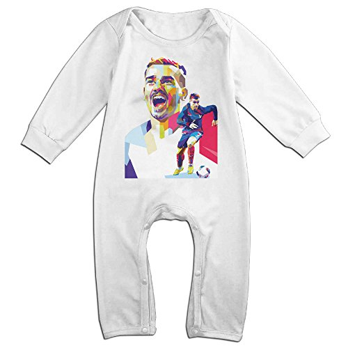 HOHOE NewBorn Soccer Player Image Long Sleeve Romper Bodysuit Outfits White 6 M (Soccer Player Costumes)
