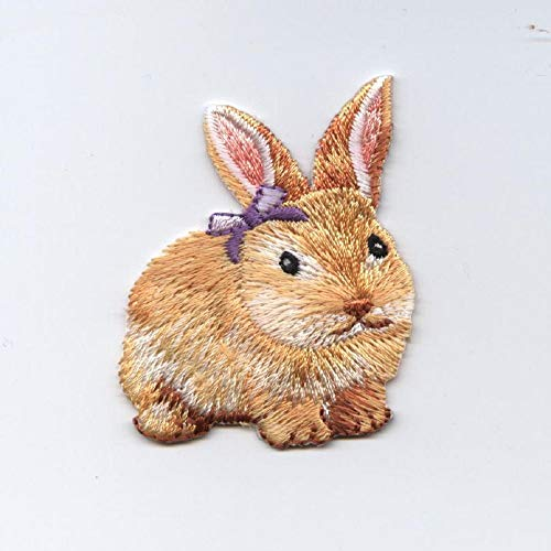 (Top Iron On Applique Embroidered Patch Brown Easter Bunny Rabbit Purple Bow)