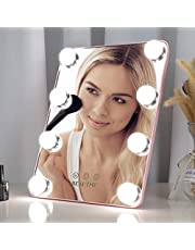 Makeup Mirror with Lights,Touch Screen LED Vanity Mirror Brighteness Adjustable,3 Color Lighting Modes with Portable Stand Mirror