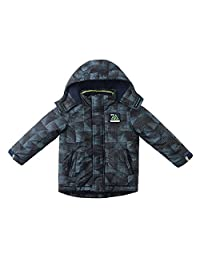 SNOW DREAMS Boys Quilted Puffer Jacket Printed Hooded Collar Zipper Coat
