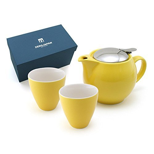ZEROJAPAN Gift Set for Universal Teapot 3 People & Teacup Tall 2 Pieces Yellow Pepper ZG-002 YP (japan import) by ZERO JAPAN