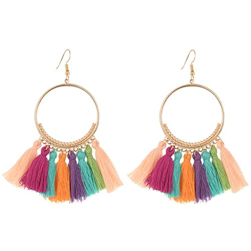 Idealway Fashion Gold Plated Semilune Colorful Thread Tassel Cute Earrings
