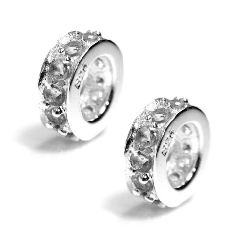 (Dreambell 2 pcs 925 Sterling Silver Round Ring Spacer Clear Cz Crystal April Birthday Bead For European Charm Bracelets)