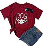 Womens Dog Mom Print Short Sleeve V-Neck T-Shirt Funny Dog Paw Print Tee Blouse Size S (Red)