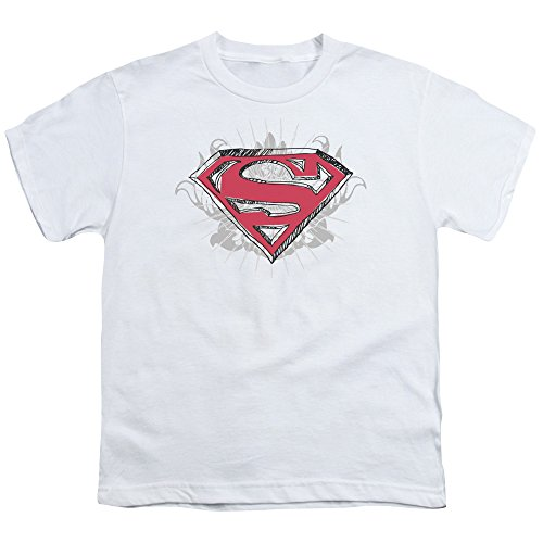 Superman Hastily Drawn Shield Unisex Youth T Shirt for Boys and Girls, Medium White ()