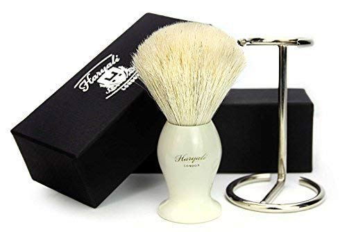 Men's 100% WHITE Badger Hair Shaving Brush in Ivory Handle Made in UK comes with the Brush Holder/Stand. SPECIAL GIFTS FOR MEN HARYALI LONDON
