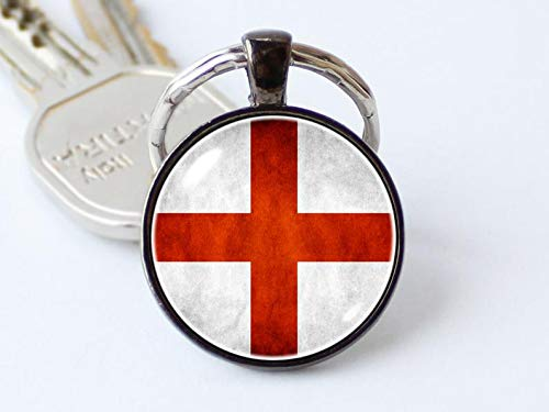 (Art Picture Key Chains,St George Cross keychain English flag key ring English jewelry Flag of England key chain Flag pendant Patriotic gift England keyring Flags,Gift of love)