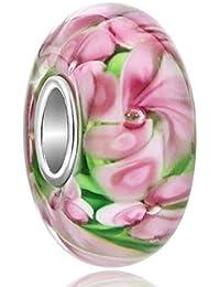 925 Sterling Silver Flower Bubbles Murano Glass Beads Fit Charm Bracelets