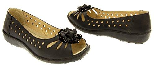 Annabelle Mujer Cuña Baja Zapatos peep toe Negro