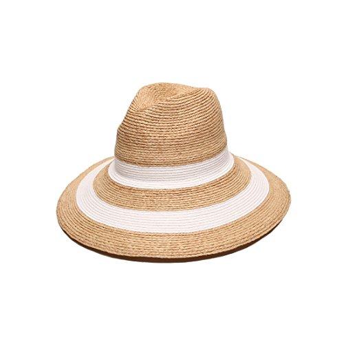 Gottex Women's Newport Raffia/Toyo Fedora Sun Hat, Rated UPF 50+ For Max Sun Protection, Natural/White, Adjustable Head - Sunglasses Horseback Riding